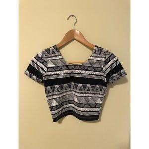 American Apparel Black/White Aztec Cropped Top